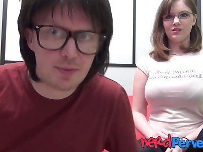 Nerdy chick with huge natural tits Jessica Lo sucks dick POV