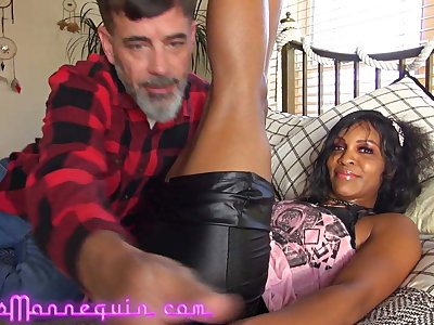 Hot Black MILF Loves Grandpa's Big White Cock