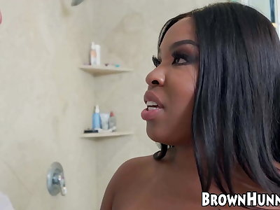 After sucking on huge cock this ebony babe gets fucked hard