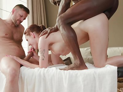 Ginger slut enjoys the fantasy threesome with both males
