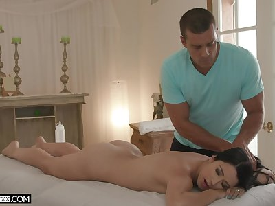 Sexy Alex Coal gets her oiled pussy banged by hard masseur's penis
