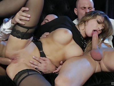 Bitch in hot stockings, insane triad and cum exposed to tits