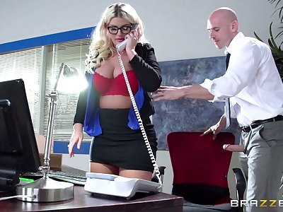 Boss lady Julie Cash fucked in the office by her be conducive to assistant