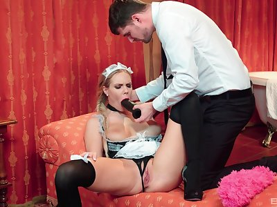 The maid is more than pleased to suit her master's thick as thieves prurient needs